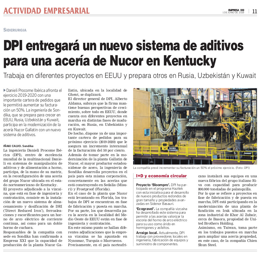 News about Danieli Procome Iberica on Empresa XXI newspaper